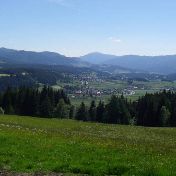 Ausblick vom Moserhof nach Mariapfarr im Lungau